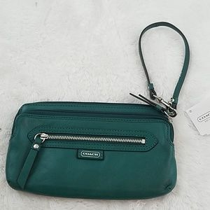 Coach Daisy Jade/Silver Double Zip Leather wallet